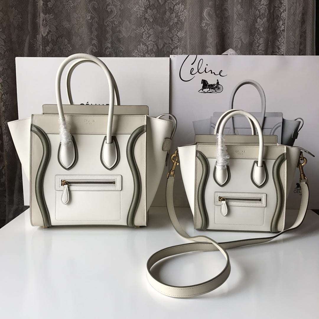 Celine Luggage Tote Bag Original Leather CLY33081M White