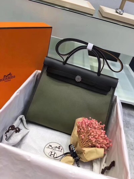Hermes Herbag 31CM Original Canvas Leather & Calfskin 45987 Atrovirens&Black