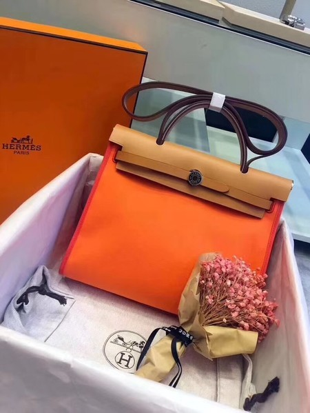 Hermes Herbag 31CM Original Canvas Leather & Calfskin 45987 Orange&Brown