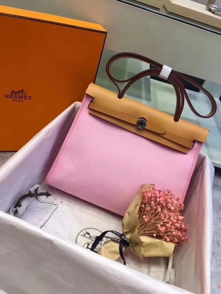 Hermes Herbag 31CM Original Canvas Leather & Calfskin 45987 Pink&Apricot