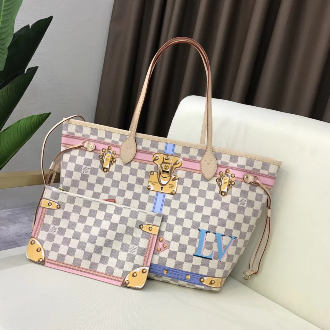 Louis Vuitton Damier Azur Canvas original neverfull mm B40156