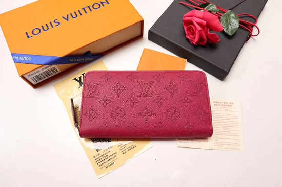Louis vuitton original Mahina Leather wallet 61867 red