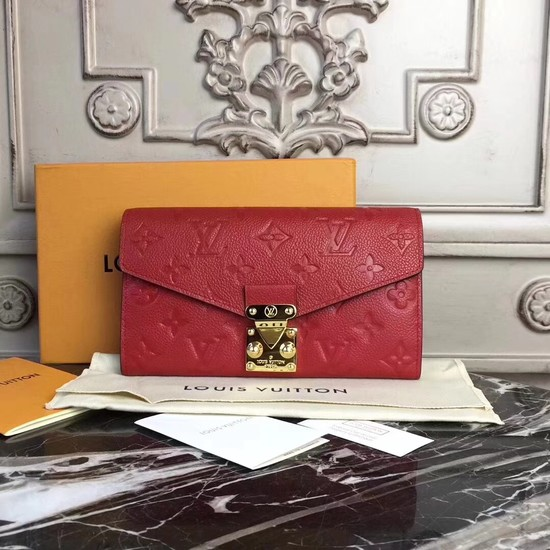 Louis Vuitton Original Monogram Empreinte Metis Wallet 62459 red