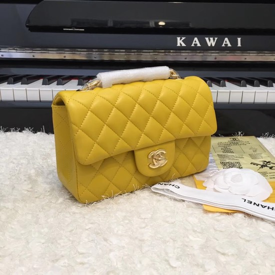 Chanel Classic original Sheepskin Leather cross-body bag A1116 yellow gold chain