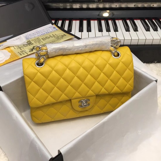 Chanel Flap Original Sheepskin Leather CF1112 Yellow silver chain