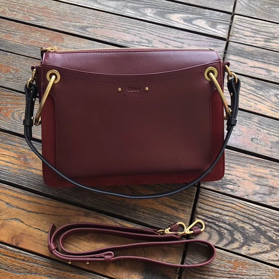 CHLOE Roy leather and suede small shoulder bag 20656 Plum purple