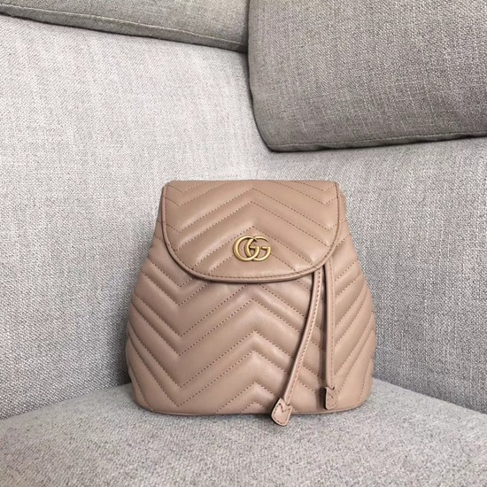 Gucci GG Marmont matelasse backpack 528129 apricot