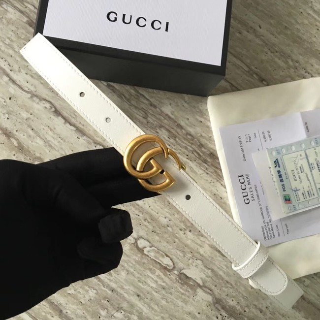 Gucci Leather belt with Double G buckle 409417 white