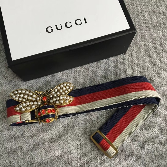 Gucci Sylvie Web belt with bee 453277 red&white&blue