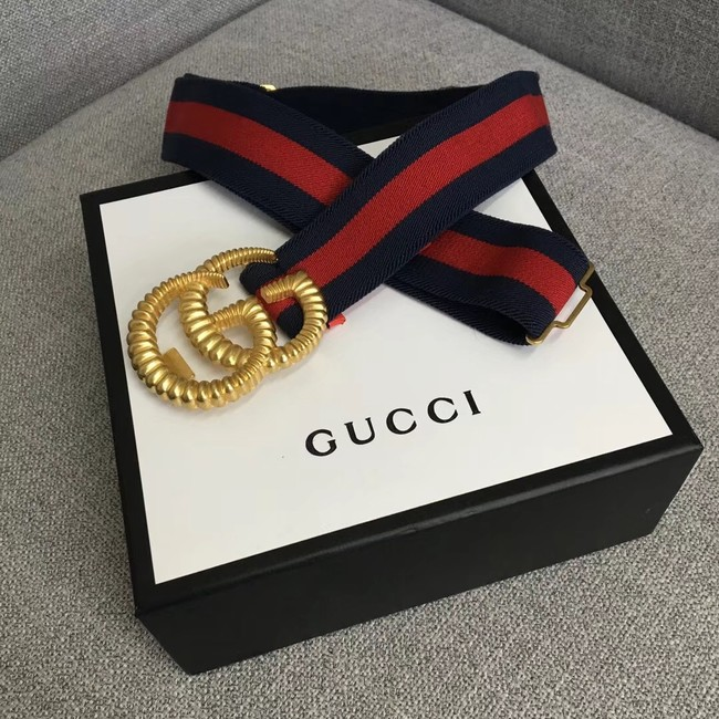Gucci Web elastic belt with torchon Double G buckle 524101 red&blue