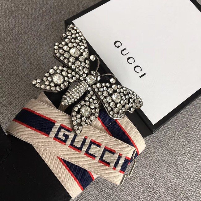Gucci stripe belt with butterfly 499633 white&blue