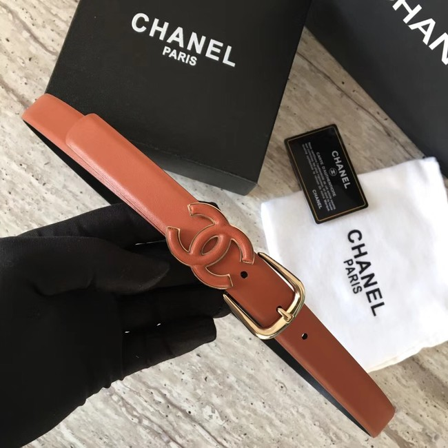 Chanel Original Calf leather Belt 56989 Camel