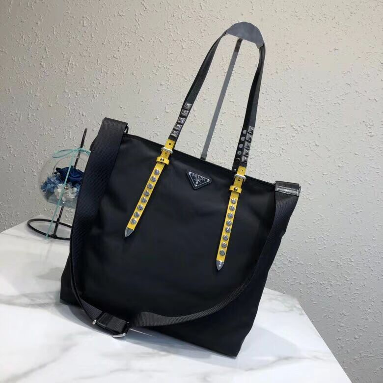 Prada Saffiano leather and nylon tote 1BG212 black&yellow