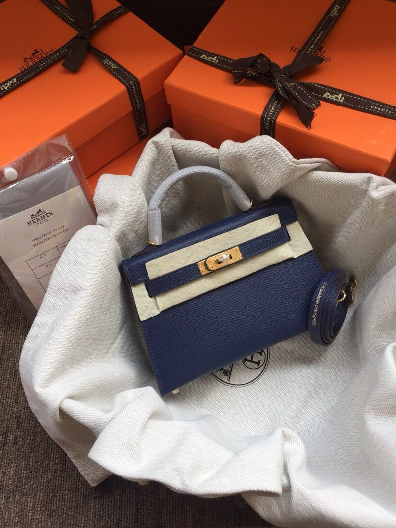 Hermes Kelly 20cm Tote Bag Original Epsom Leather KL20 Blue