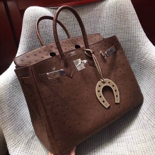 Hermes Real ostrich leather birkin bag BK35 Chocolates