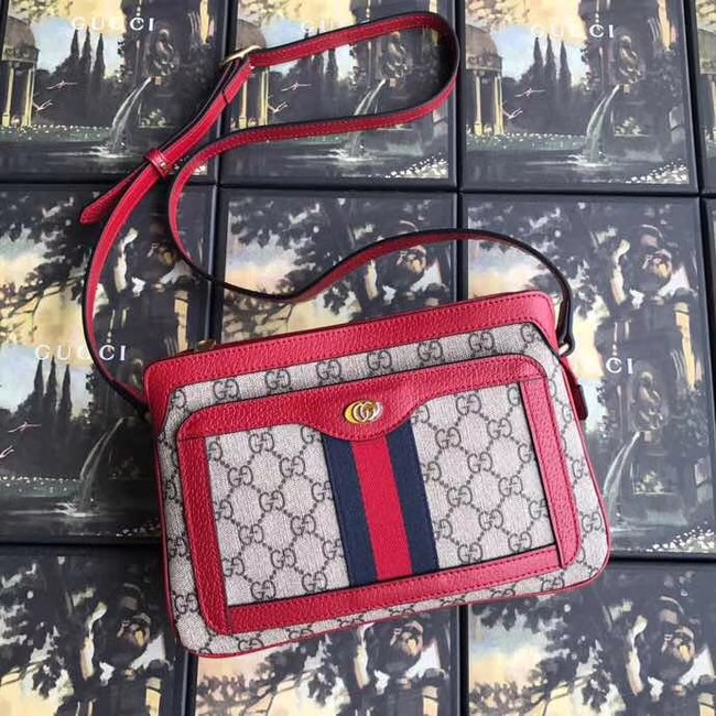 Gucci GG Supreme small shoulder bag 523354 red