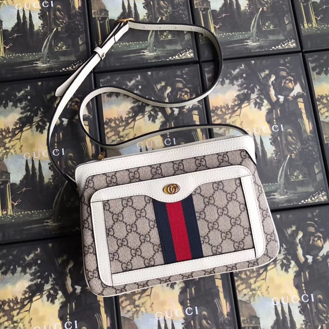 Gucci GG Supreme small shoulder bag 523354 white