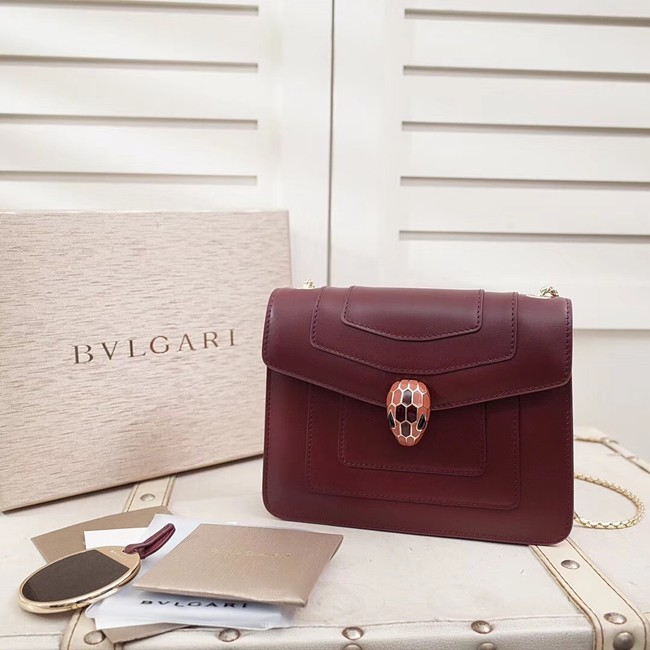 BVLGARI Serpenti Forever Flap Cover leather bag 28697 fuchsia