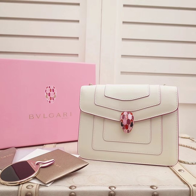 BVLGARI Serpenti Forever Flap Cover leather bag 28697 white