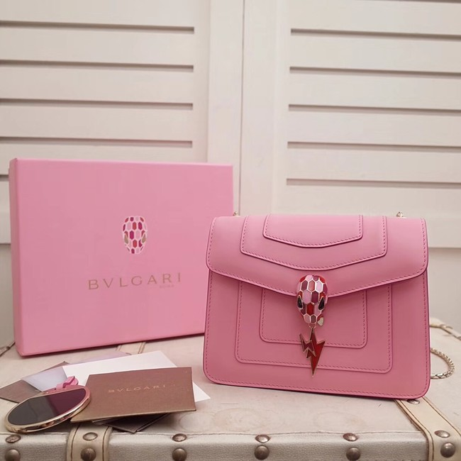 BVLGARI Serpenti Forever Flap Cover leather bag 34559 pink
