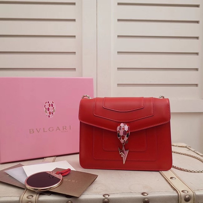 BVLGARI Serpenti Forever Flap Cover leather bag 34559 red