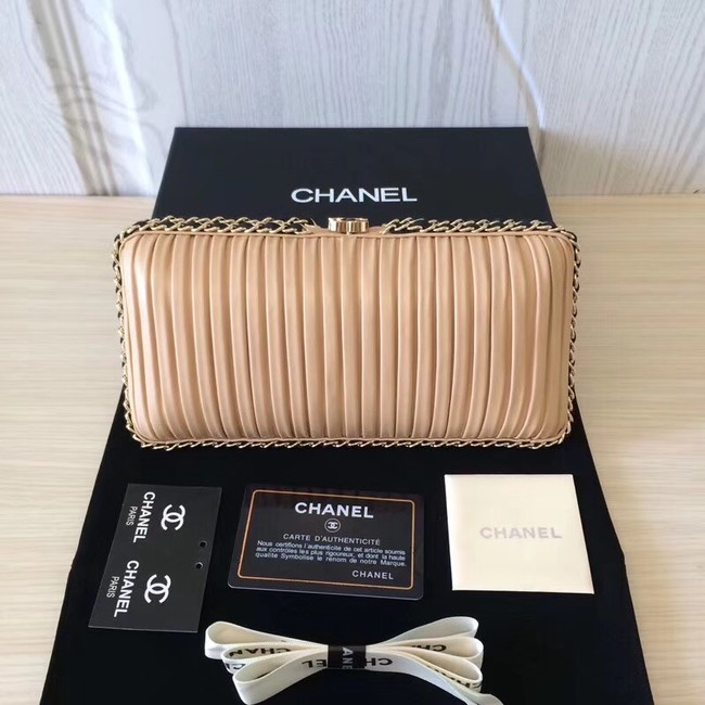 Chanel Minaudiere Metallic Lambskin & Ruthenium-Finish Metal 78991 apricot
