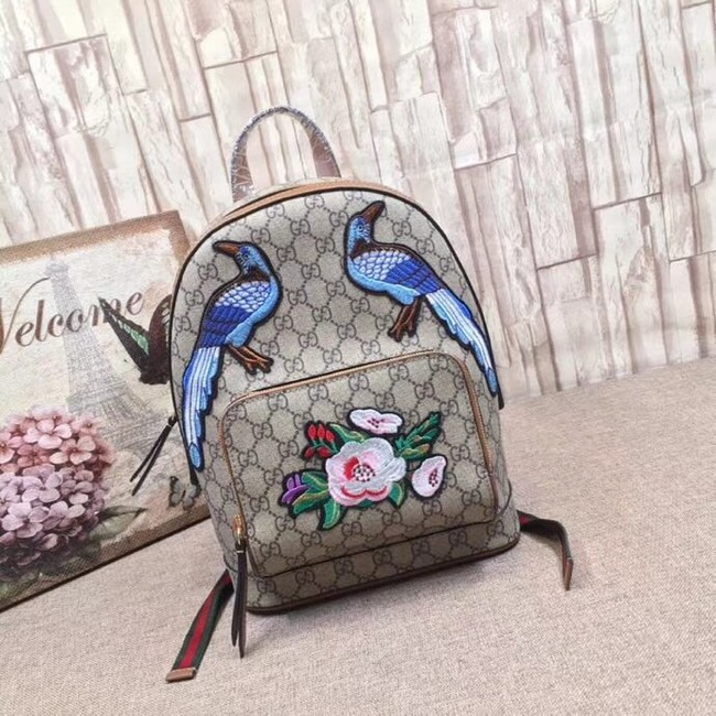 Gucci GG Supreme backpack Flower and bird 427042 brown