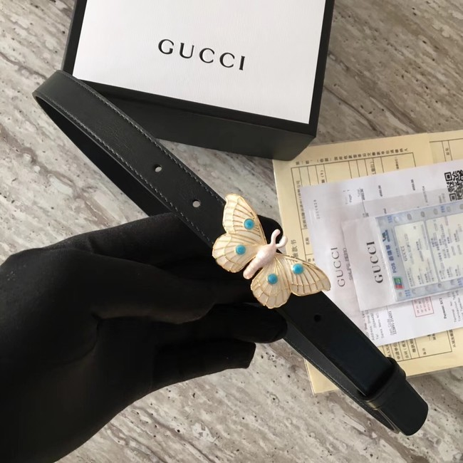 Gucci leather belt with butterfly A409418 Black