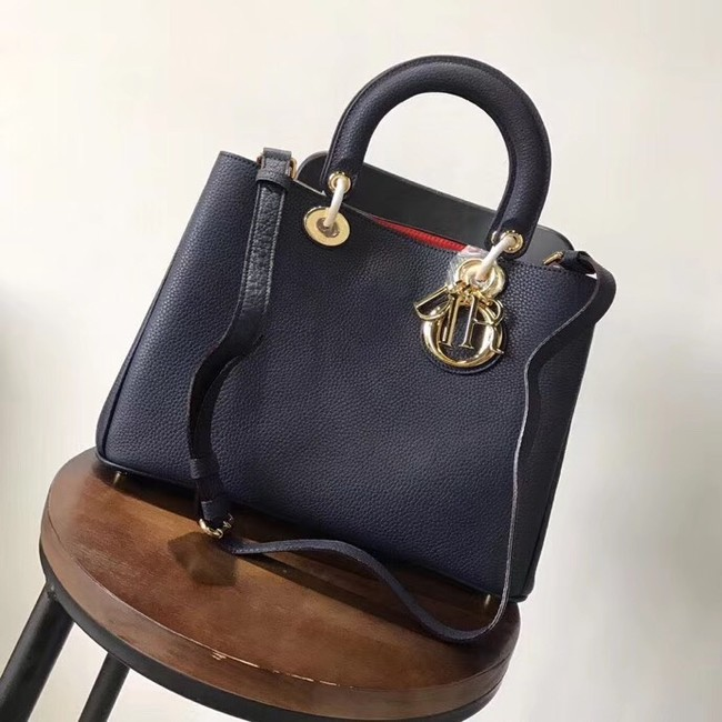 Dior Diorissimo Bag in Original Grainy Leather CD0678 navy blue & Gold-Tone Metal