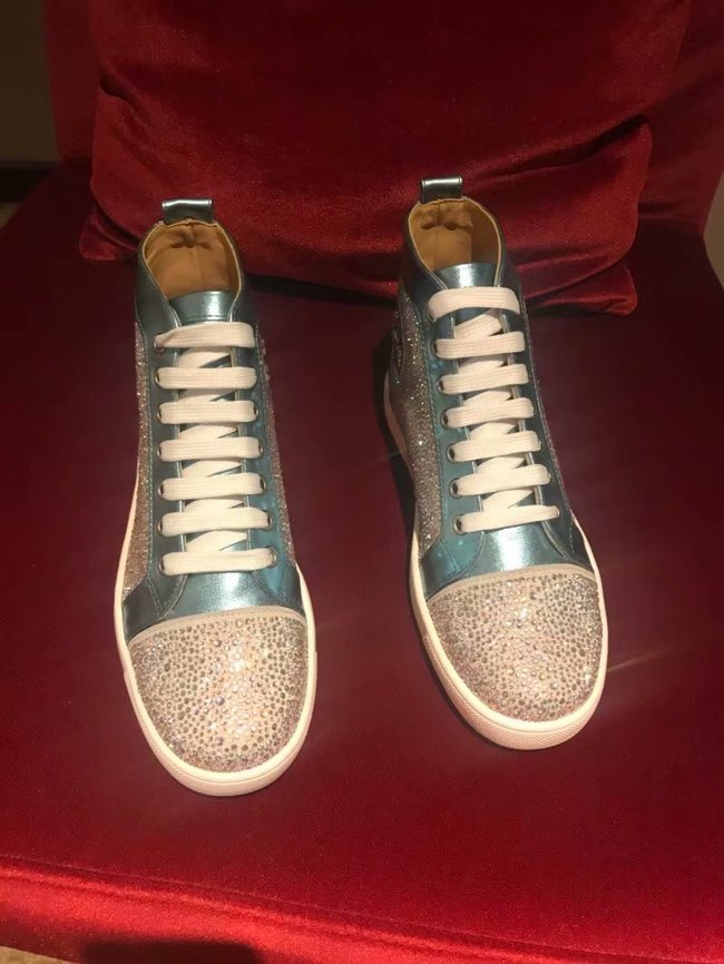 CHRISTIAN LOUBOUTIN Pik Boat glitter leather sneakers CL1046