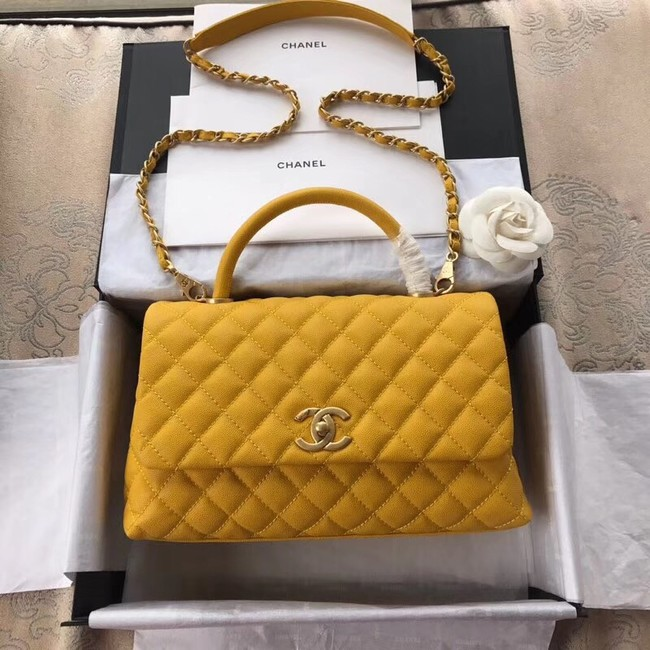 Chanel Flap Bag with Top Handle A92991 yellow
