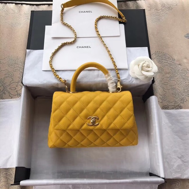 Chanel Small Flap Bag with Top Handle A92990 yellow