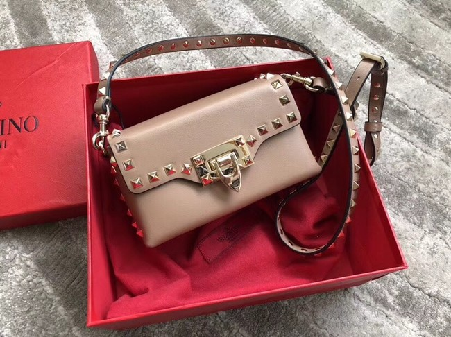 VALENTINO Rockstud leather cross-body bag 04235 apricot