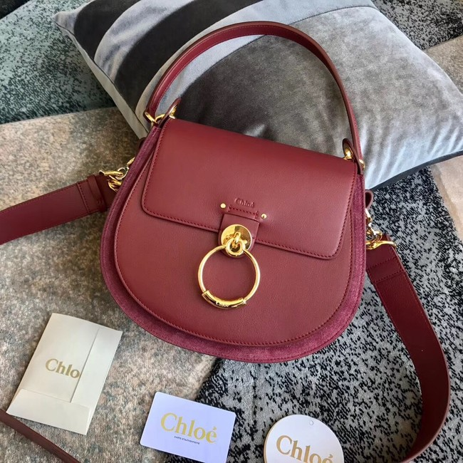 CHLOE Tess leather and suede cross-body bag 3S152 Burgundy