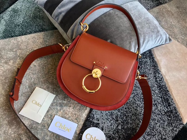 CHLOE Tess leather and suede cross-body bag 3S152 brown