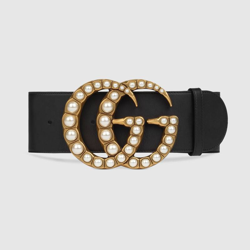 Gucci Wide leather belt with pearl Double G 453261 black
