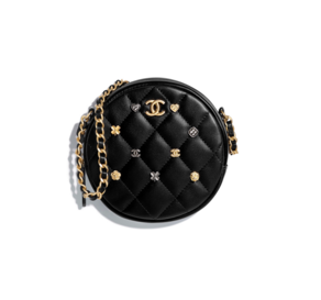 Chanel clutch with chain Lambskin & Gold-Tone Metal A81620 black