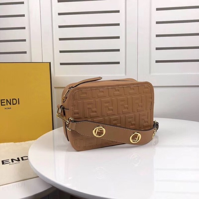 Fendi MINI CAMERA CASE leather bag 8BS019A apricot