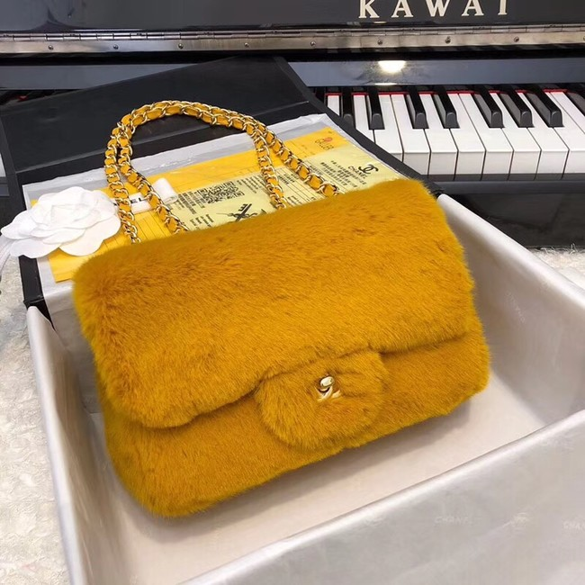 Chanel mini flap bag Rabbit hair Gold-Tone 1116 yellow
