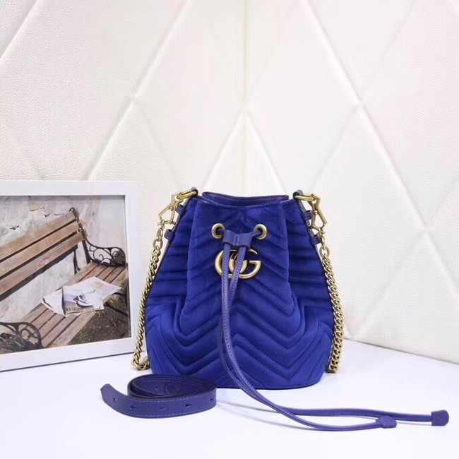 Gucci Ophidia GG bucket bag velvet 525081 blue