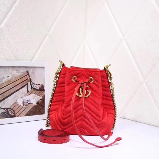Gucci Ophidia GG bucket bag velvet 525081 red