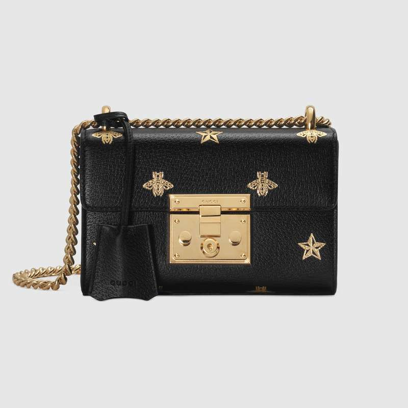 Gucci Padlock Bee Star small shoulder bag 432182 BLACK
