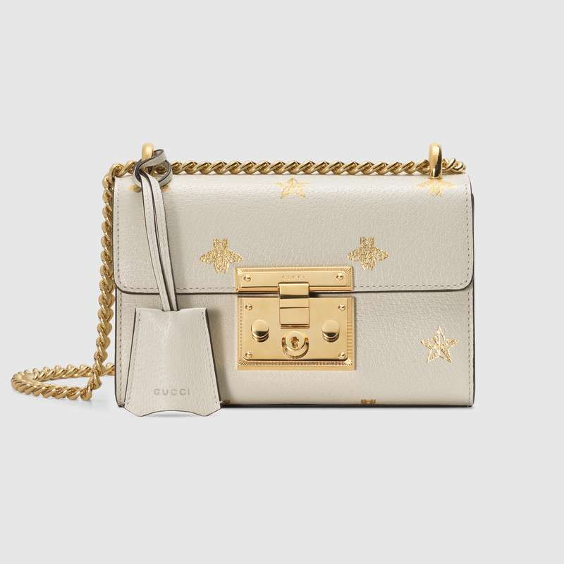 Gucci Padlock Bee Star small shoulder bag 432182 White
