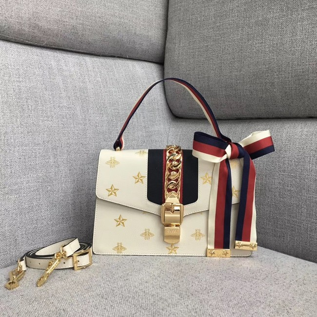 Gucci Sylvie Bee Star small shoulder bag A421882 white