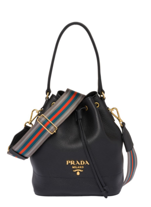 Prada Leather bucket bag 1BE018 black