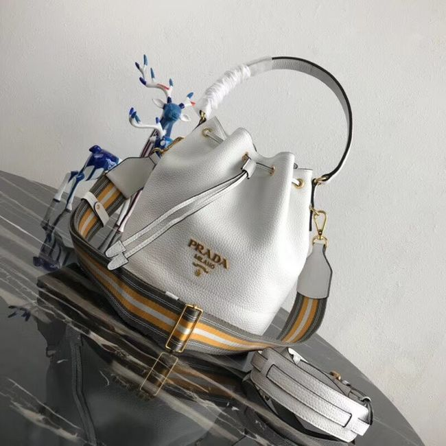 Prada Leather bucket bag 1BE018 white