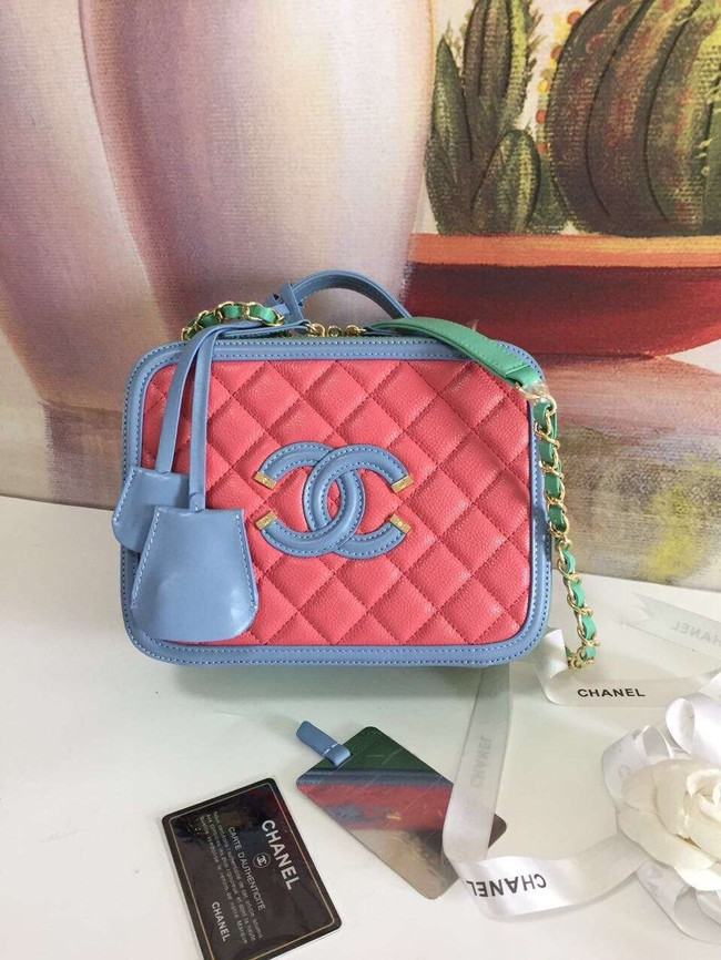 Chanel vanity case Grained Calfskin & gold-Tone Metal A93343 Pink&Green&blue