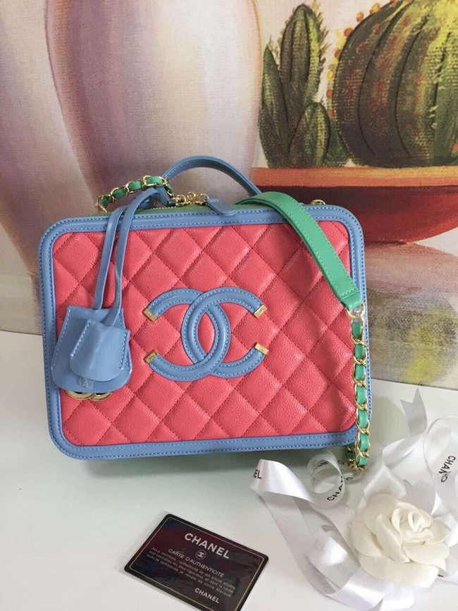 Chanel vanity case Grained Calfskin & gold-Tone Metal A93344 Pink&Green&blue