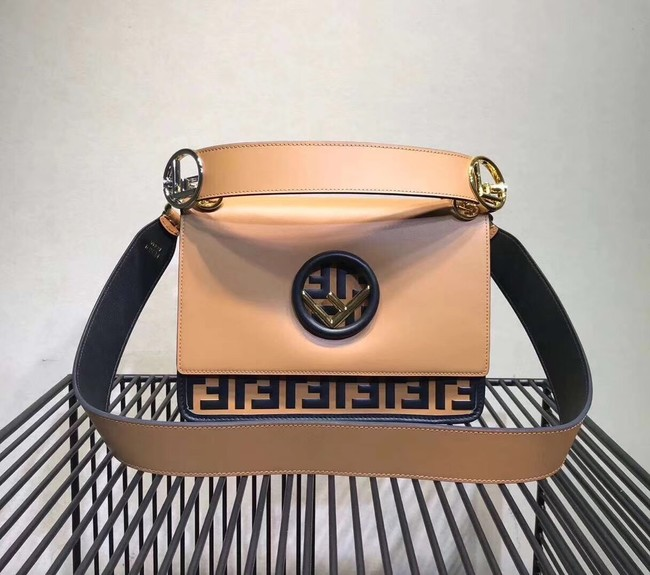 FENDI Kan I Leather Shoulder Bag 8BT284 Apricot&brown