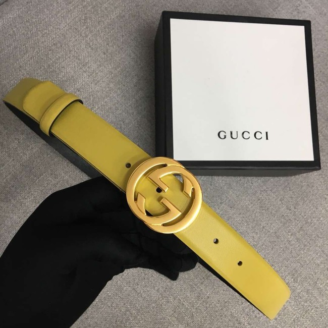 Gucci Leather belt with Double G buckle 406831 yellow